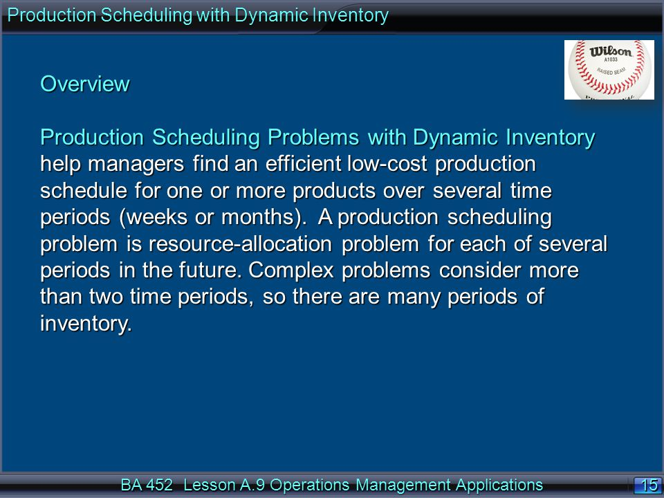 Production Scheduling with Dynamic Inventory