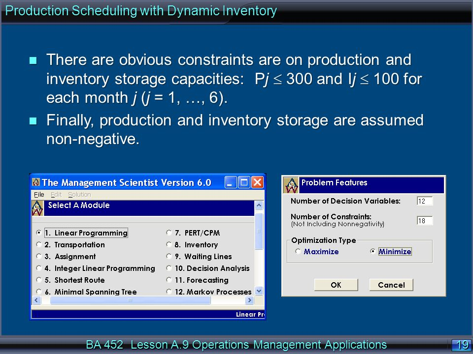 Finally, production and inventory storage are assumed non-negative.