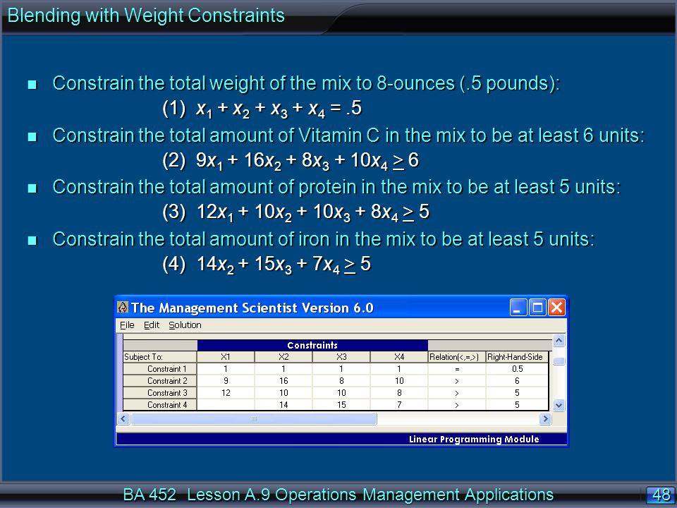 Blending with Weight Constraints