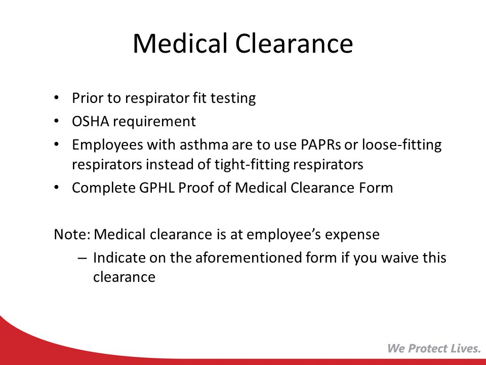 Medical Clearance Prior to respirator fit testing OSHA requirement