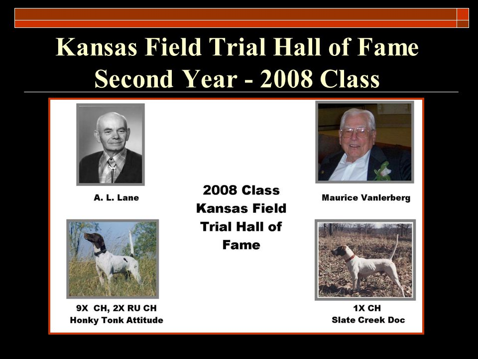 Kansas Field Trial Hall of Fame Second Year - 2008 Class