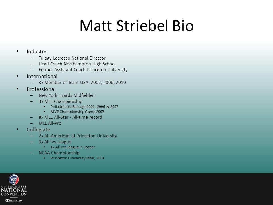 Matt Striebel Bio Industry International Professional Collegiate
