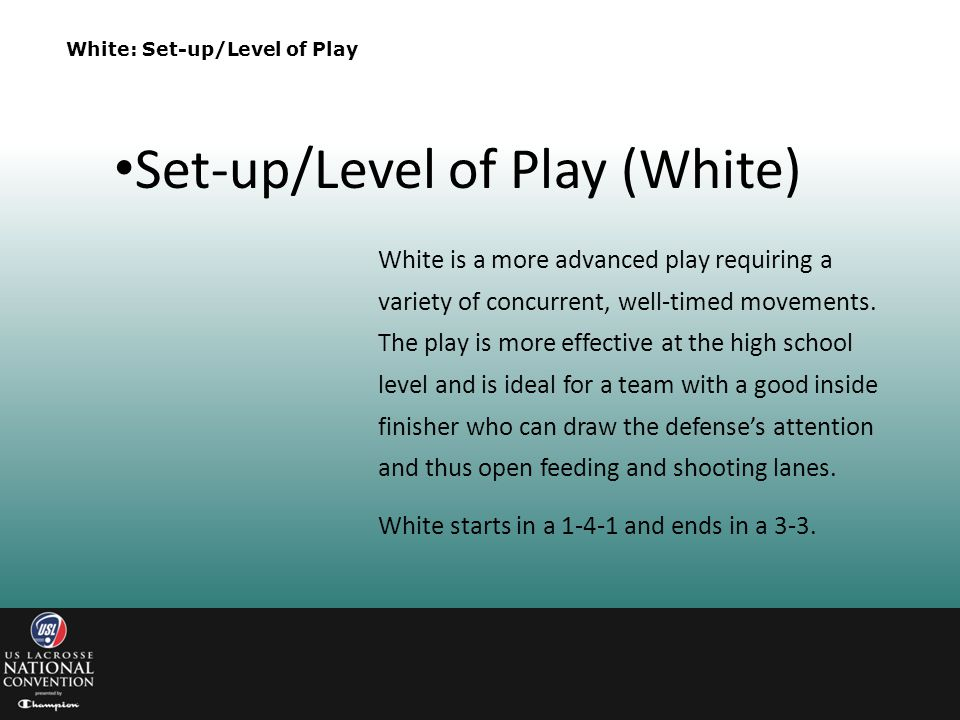 Set-up/Level of Play (White)