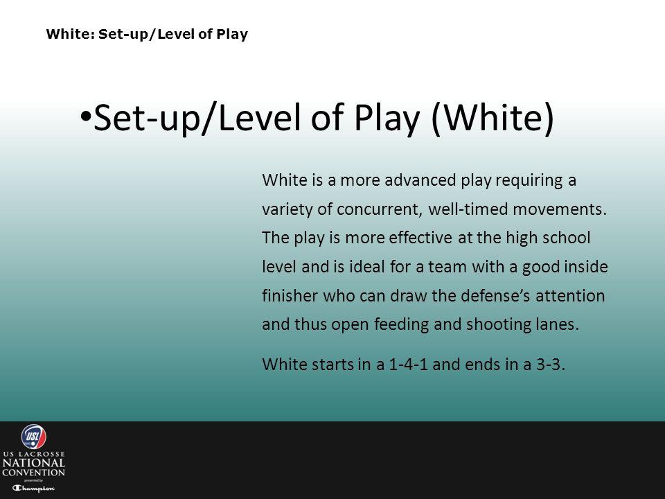 Set-up/Level of Play (White)