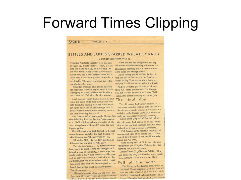 Forward Times Clipping