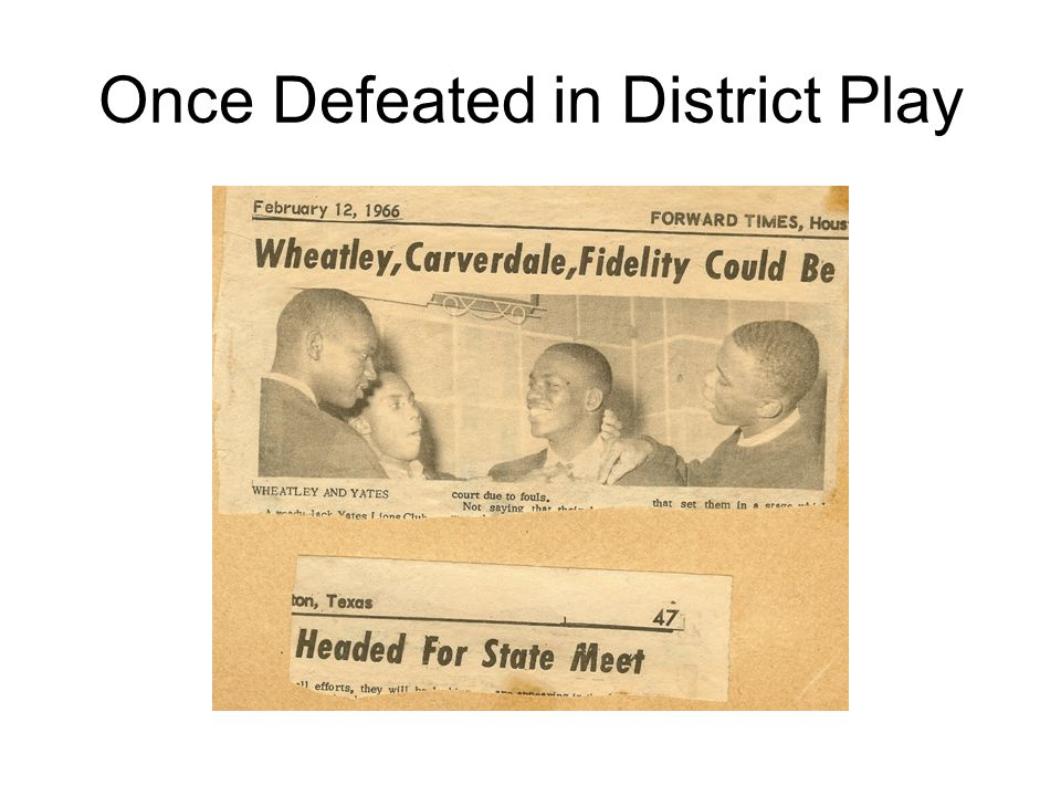 Once Defeated in District Play