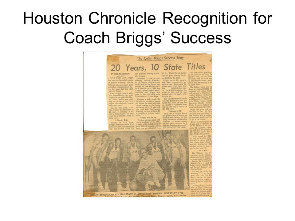 Houston Chronicle Recognition for Coach Briggs' Success
