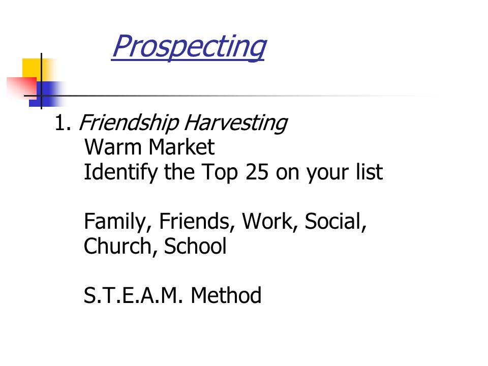 Prospecting 1. Friendship Harvesting Warm Market