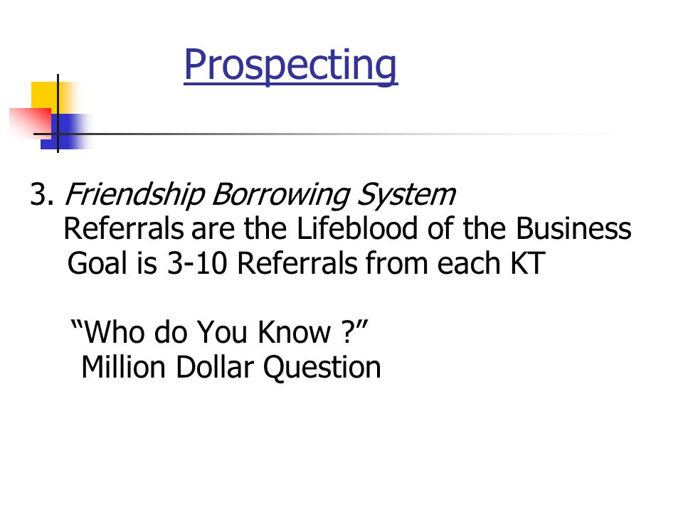 Prospecting 3. Friendship Borrowing System