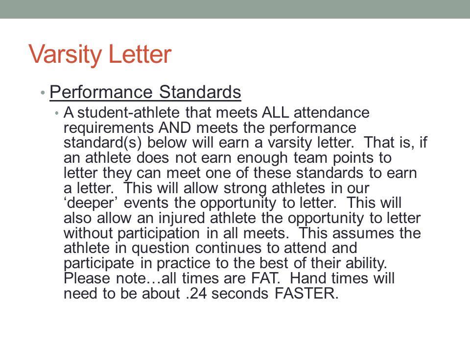 Varsity Letter Performance Standards