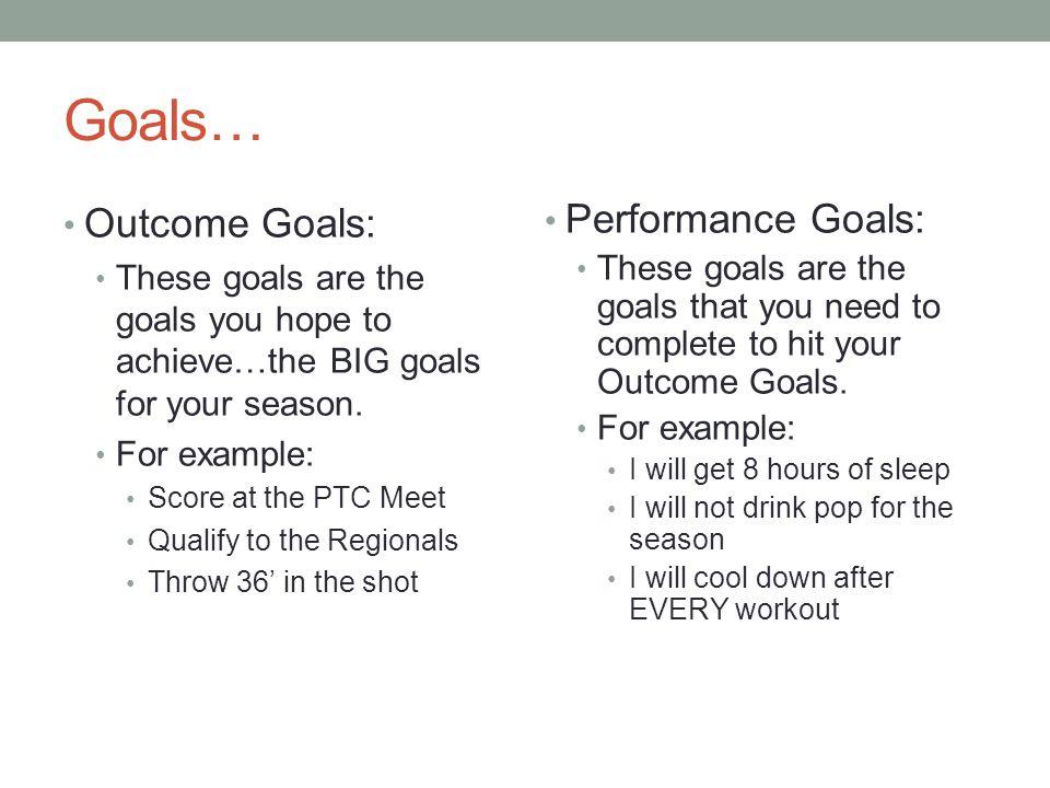 Goals… Outcome Goals: Performance Goals: