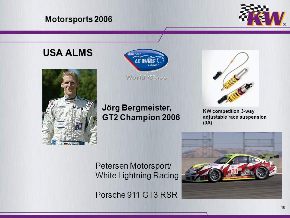 USA ALMS Motorsports 2006 Jörg Bergmeister, GT2 Champion 2006