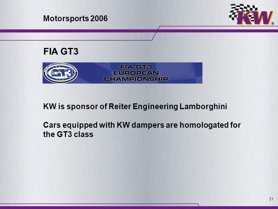 Motorsports 2006 FIA GT3. KW is sponsor of Reiter Engineering Lamborghini.
