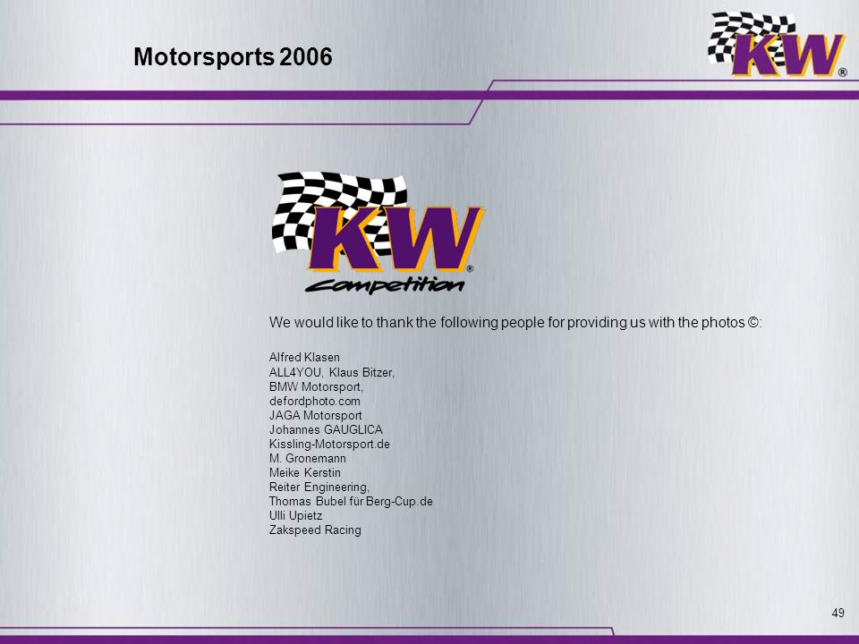 Motorsports 2006 We would like to thank the following people for providing us with the photos ©: Alfred Klasen.