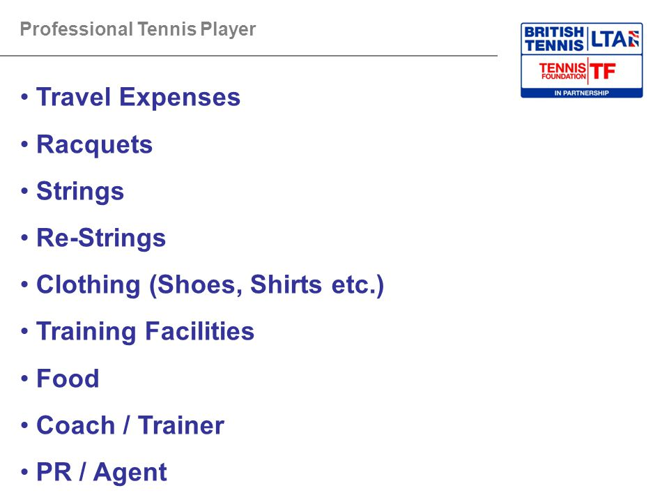 Clothing (Shoes, Shirts etc.) Training Facilities Food Coach / Trainer