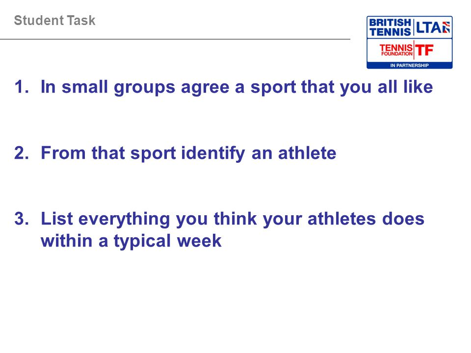 In small groups agree a sport that you all like