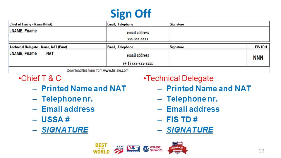 Sign Off Chief T & C Printed Name and NAT Telephone nr. Email address