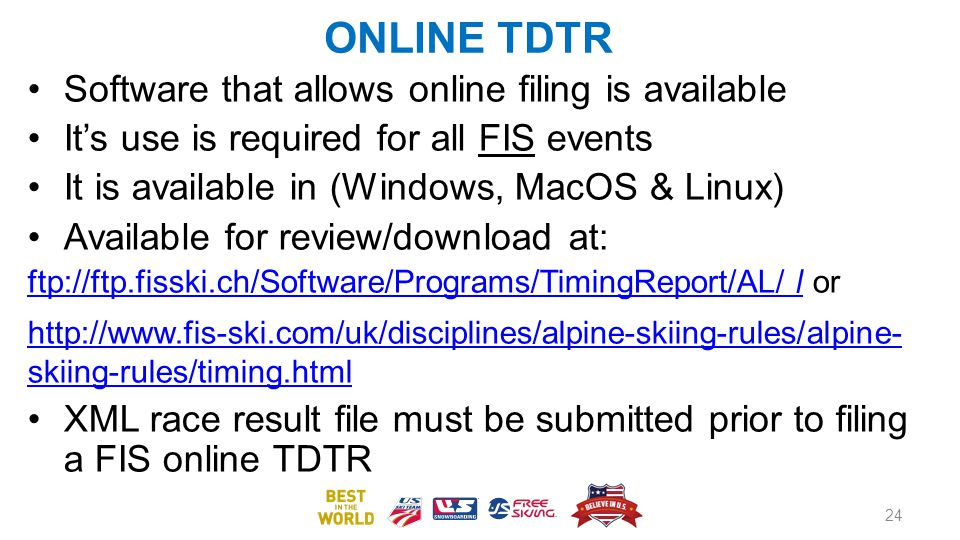 ONLINE TDTR Software that allows online filing is available