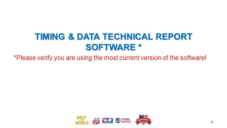 TIMING & DATA TECHNICAL REPORT SOFTWARE *