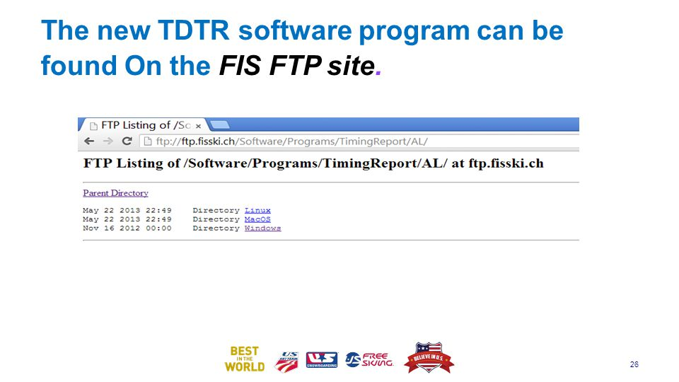 The new TDTR software program can be found On the FIS FTP site.