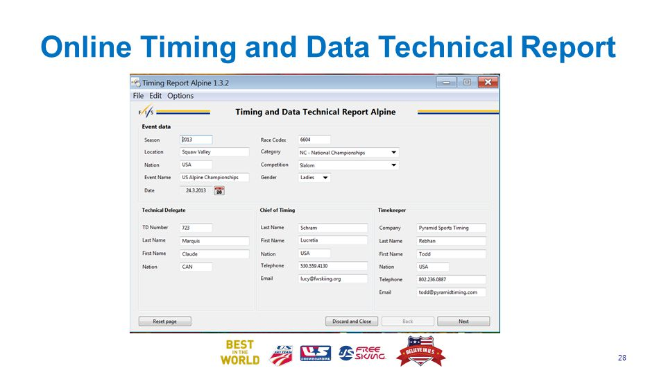 Online Timing and Data Technical Report
