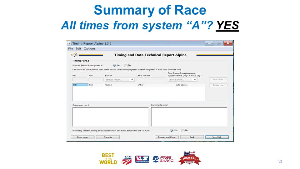 Summary of Race All times from system A YES