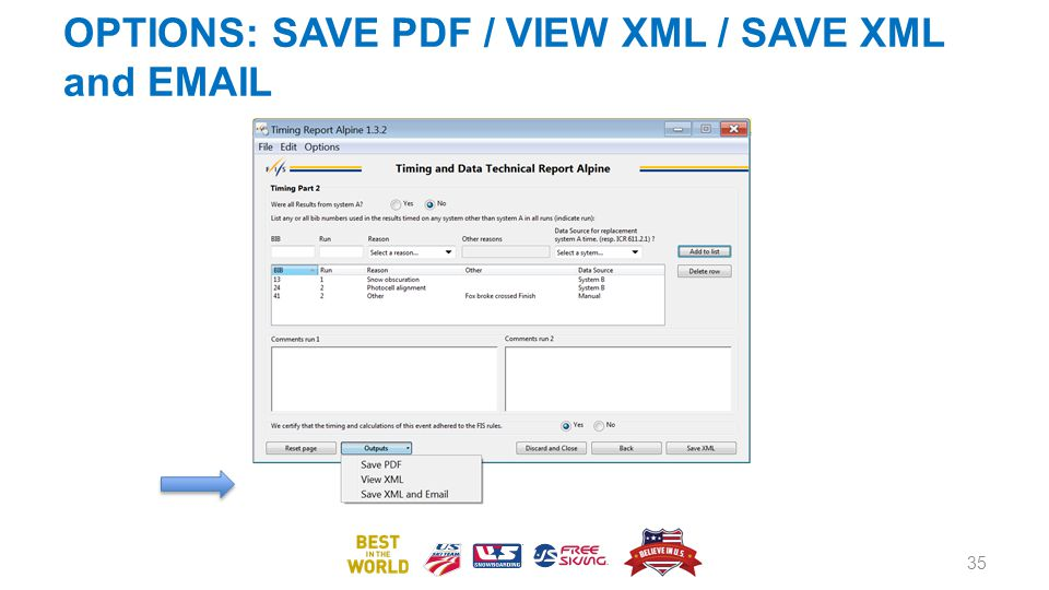 OPTIONS: SAVE PDF / VIEW XML / SAVE XML and EMAIL