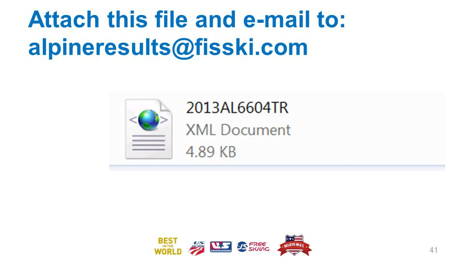 Attach this file and e-mail to: alpineresults@fisski.com
