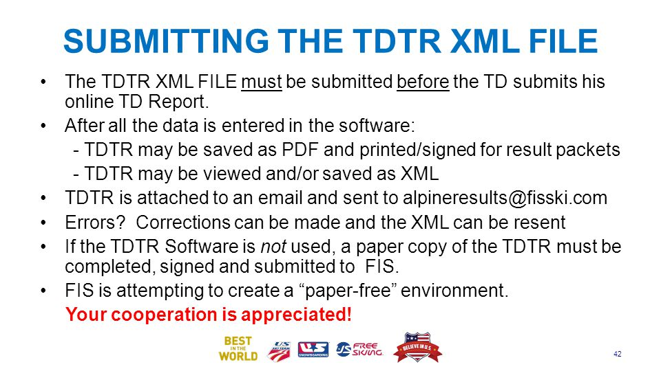 SUBMITTING THE TDTR XML FILE
