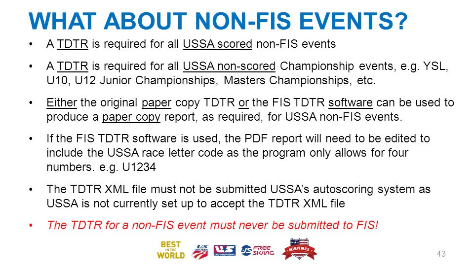 WHAT ABOUT NON-FIS EVENTS