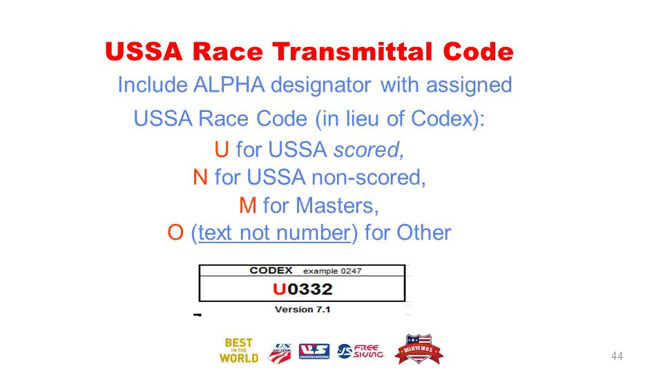 USSA Race Transmittal Code Include ALPHA designator with assigned