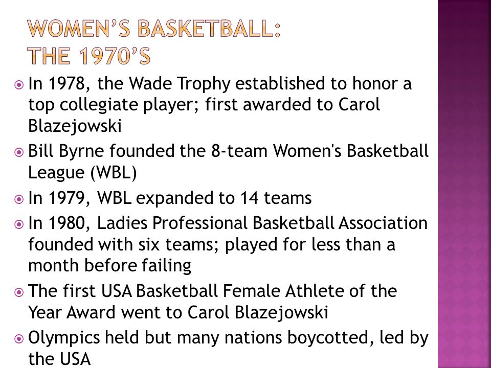 Women's basketball: The 1970's