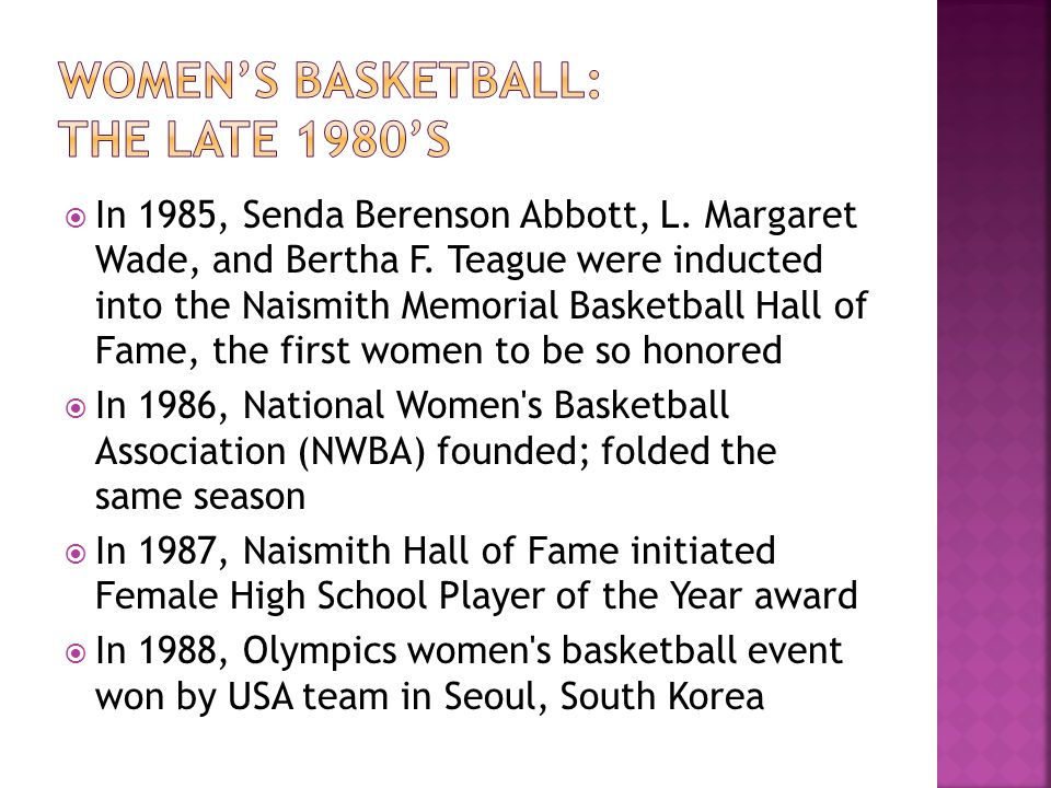 Women's basketball: The late 1980's