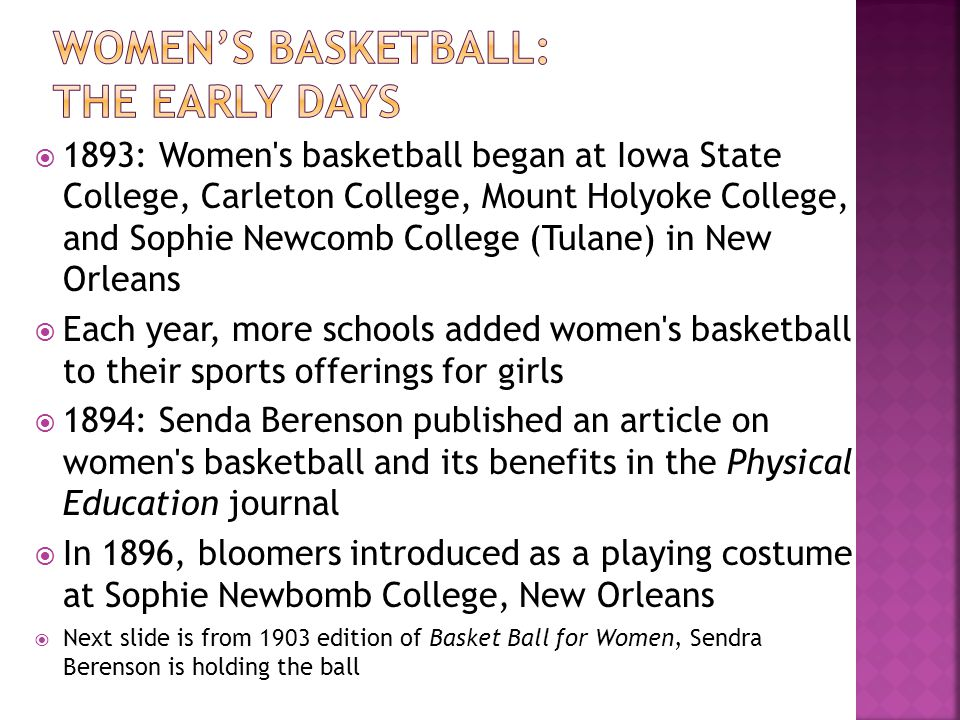 Women's basketball: The early days