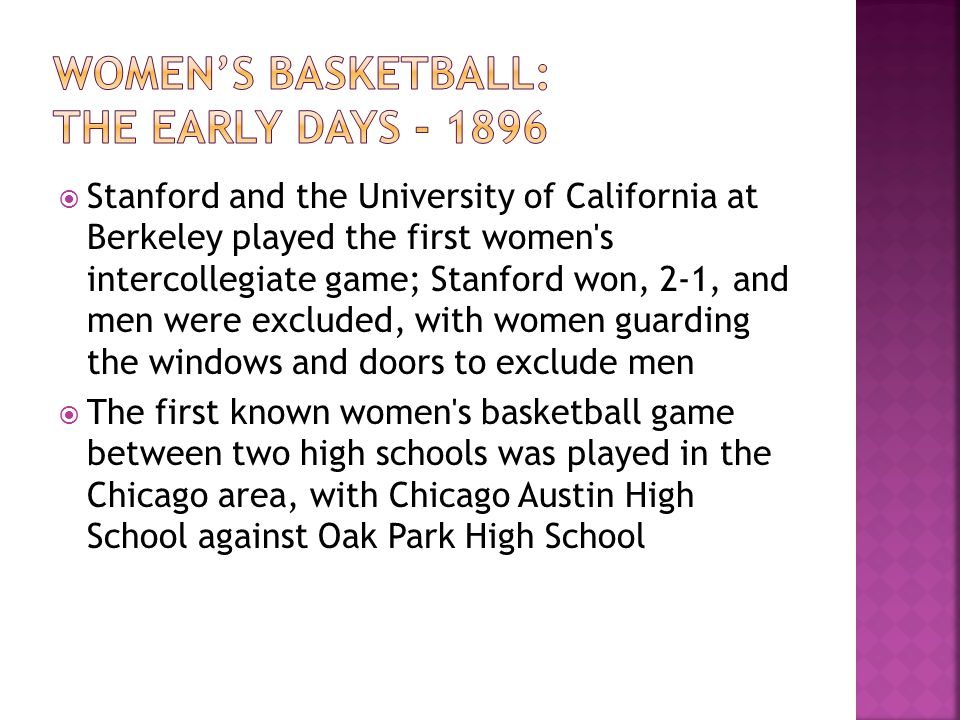 Women's basketball: The early days - 1896