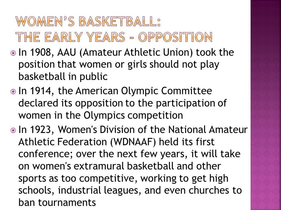 Women's basketball: The early years - opposition