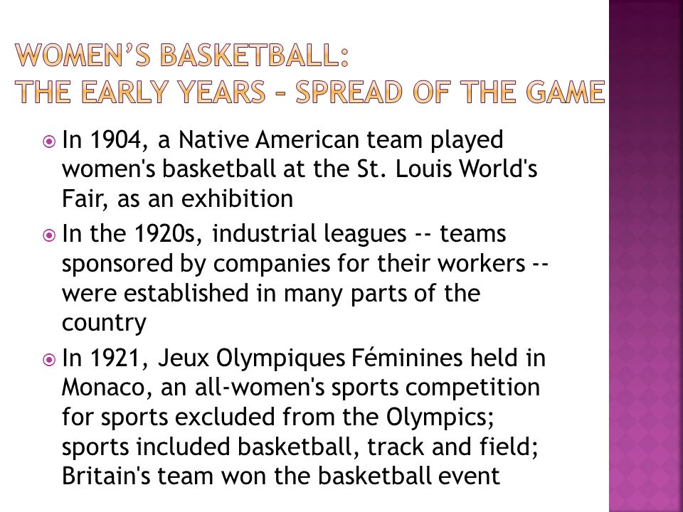 Women's basketball: The early years – spread of the game