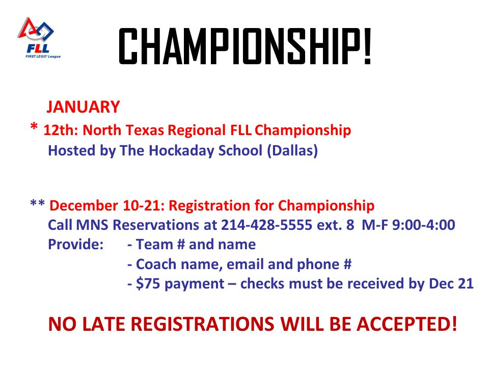 NO LATE REGISTRATIONS WILL BE ACCEPTED!