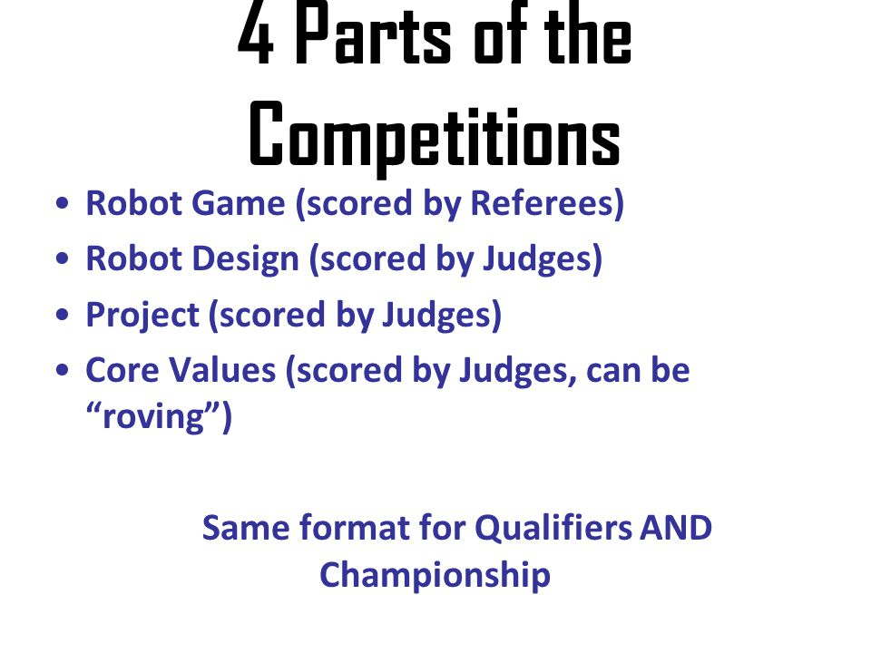 4 Parts of the Competitions