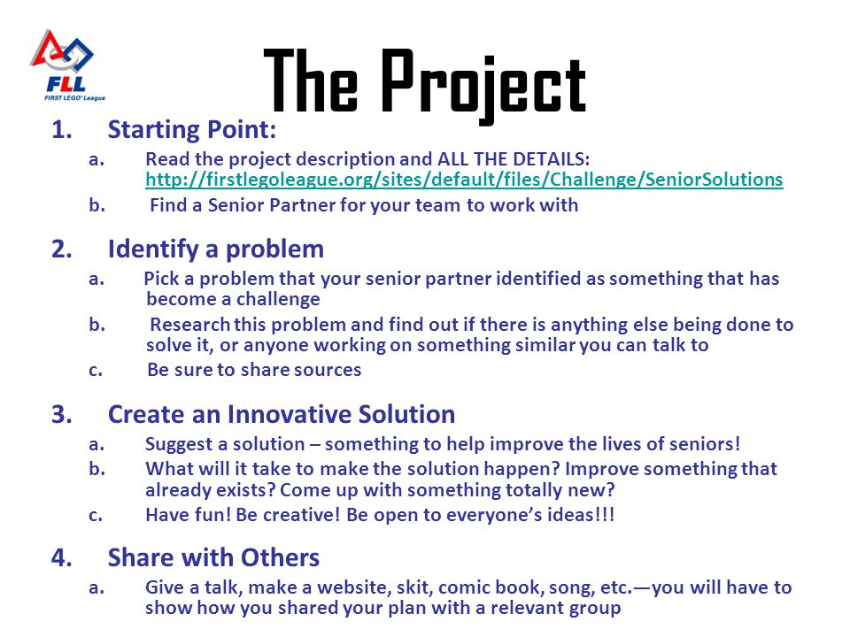 The Project Starting Point: Identify a problem