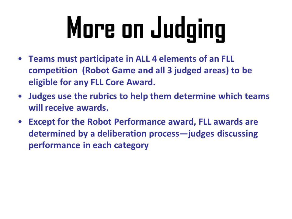More on Judging