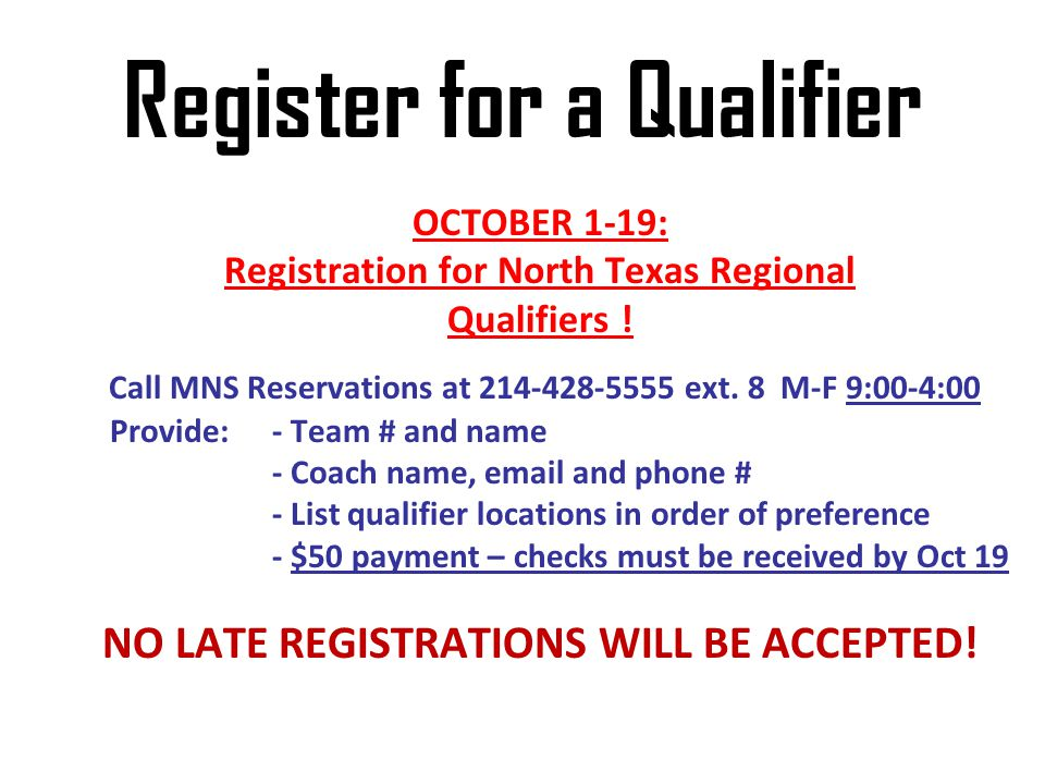 Register for a Qualifier