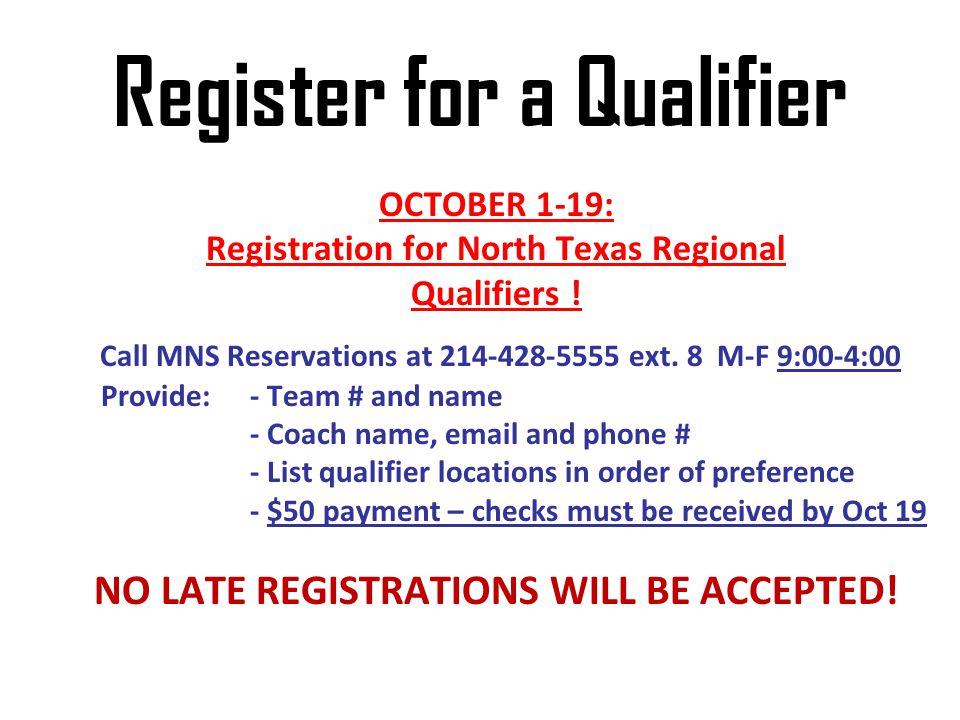 Register for a Qualifier
