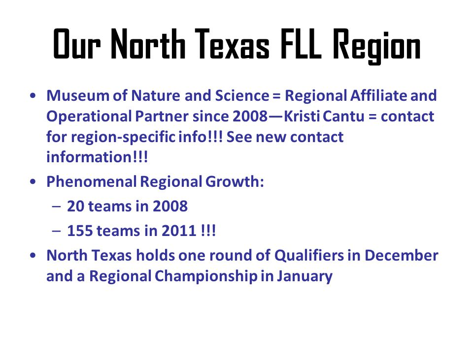 Our North Texas FLL Region