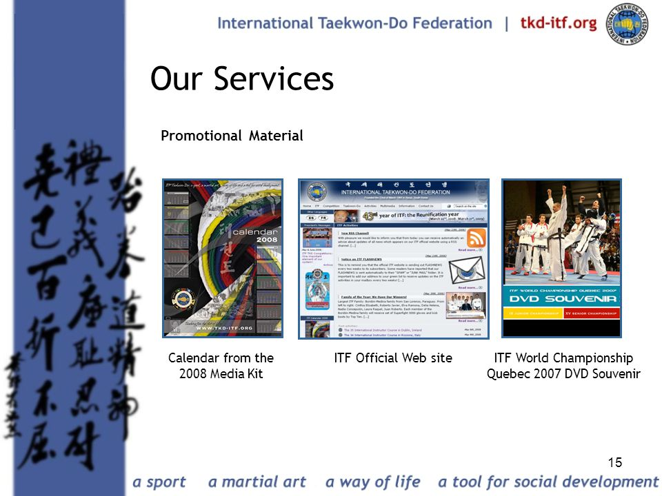 Our Services Promotional Material Calendar from the 2008 Media Kit
