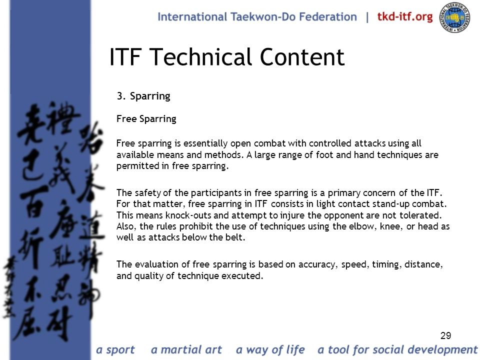 ITF Technical Content 3. Sparring Free Sparring