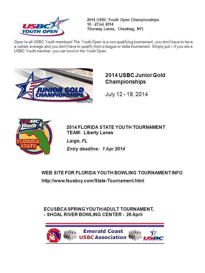 2014 USBC Junior Gold Championships July 12 - 18, 2014