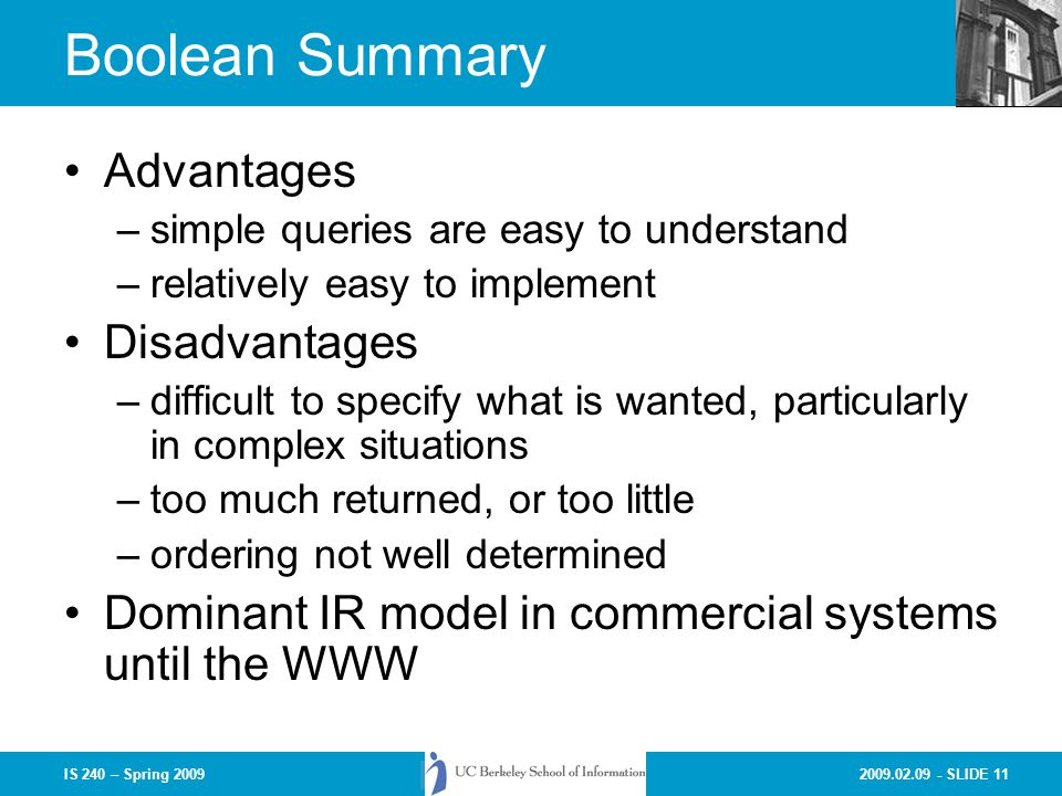 Boolean Summary Advantages Disadvantages