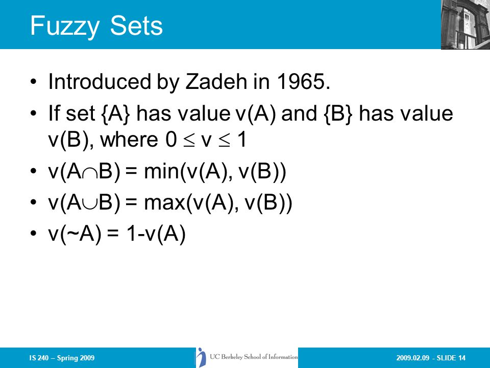 Fuzzy Sets Introduced by Zadeh in 1965.