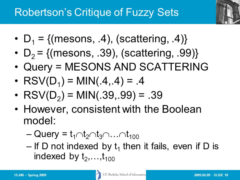 Robertson's Critique of Fuzzy Sets